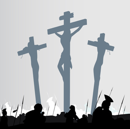 crucifixion: Eastern calvary crucifixion scene. Calvary crucifixon scene with three crosses. Vector Illustration.