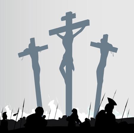 crucified: Escena de crucifixi�n de calvario oriental. Escena de crucifixon de calvario con tres cruces. Ilustraci�n vectorial.