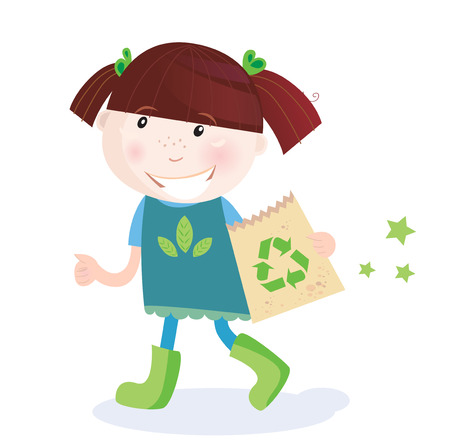 1 school bag: Child support recycling. Small child holding paper bag with recycle symbol. Vector Illustration.