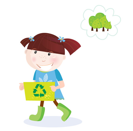 child holding sign: Recycle child. Recycle and save our planet! Smal girl with recycling box. Vector Illustration.