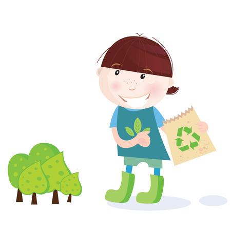 ni�os reciclando: Ni�o de la escuela es reciclado. El reciclaje es perfecto hasta salvar bosque! Ilustraci�n vectorial de ni�o de la escuela.