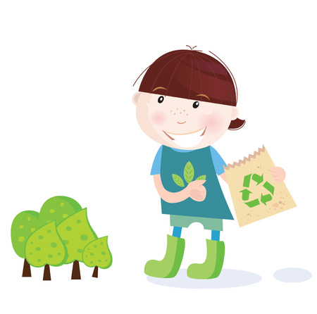 hand holding flower: School boy is recycling. Recycling is perfect way to save forest! Vector Illustration of school boy.  Illustration