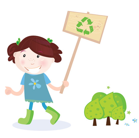 responsibilities: School girl support recycling. Recycling is good way to save trees! Vector Illustration of school girl with recycle sign.