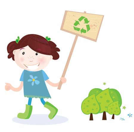 separacion de basura: Soporte de ni�a de escuela reciclaje. El reciclaje es una buena forma para salvar �rboles! Ilustraci�n vectorial de la ni�a de la escuela con rec�clelas signo.
