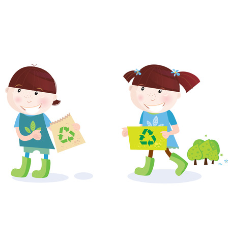 child of school age: School childrens with recycle symbol. Recycle and save trees! Vector Illustration of school girl and boy with recycle signs.