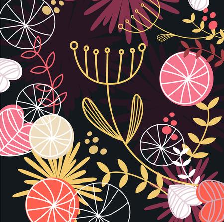 Retro floral pattern background. Floral pattern in retro style. Vector illustration of floral background. Vector