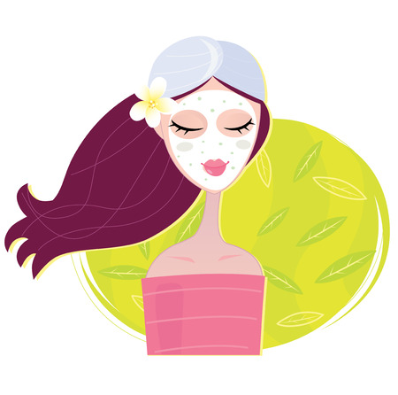 Spa girl with regeneration facial mask. Young girl with facial mask. Vector Illustration. Stock Vector - 6563011