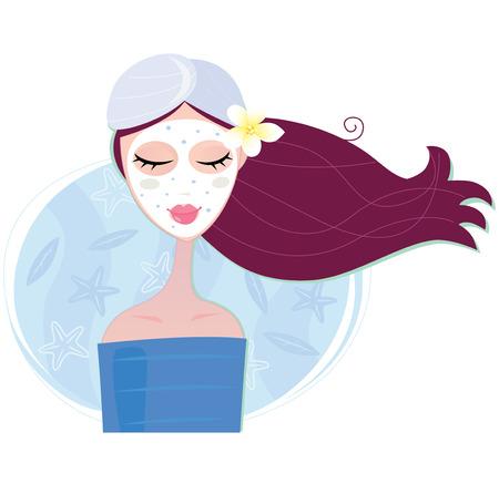 Femme de Spa avec masque facial peeling. Jeune femme avec masque facial. Illustration vectorielle.