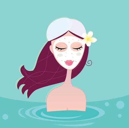 Hydrothérapie: Spa femme relaxante en bleu. Belle femme spa est relaxant dans le spa de l'eau bleue. Illustration vectorielle Vecteurs