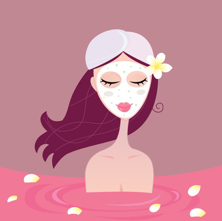 young girl bath: Spa girl relax in flower red bath. Beautiful spa girl relaxing in red bath. Vector Illustration.