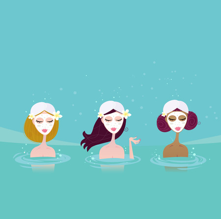 hydrotherapy: Three ladies in water spa. Beautiful ladies relaxing in water spa. Vector Illustratin in retro style.