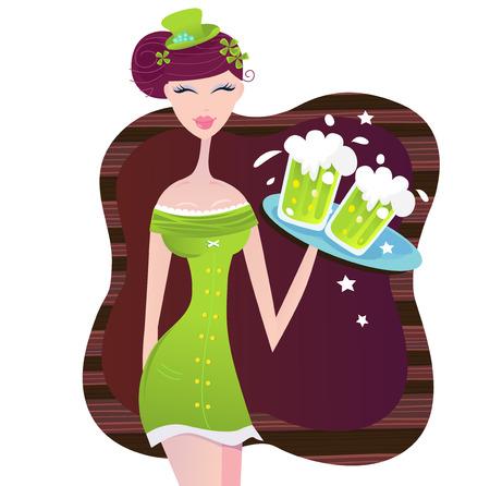 four leafed clover: D�a de chica irlandesa San Patricio con cerveza verde. Caliente chica irlandesa con cerveza fr�a. Ilustraci�n vectorial.