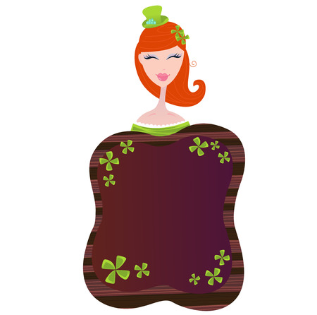 St. Patricks Day label with four leaf clovers and girl. Vector wooden label. Write your own text!  Vector