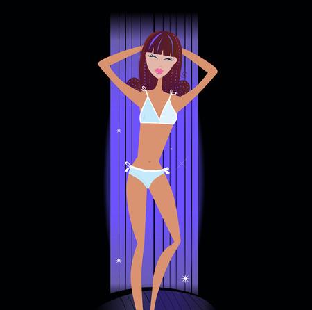 dark skin: Solarium - giovane donna sdraiato nel letto di tannici. Ragazza di pelle scura che giace nel solarium, solarium.