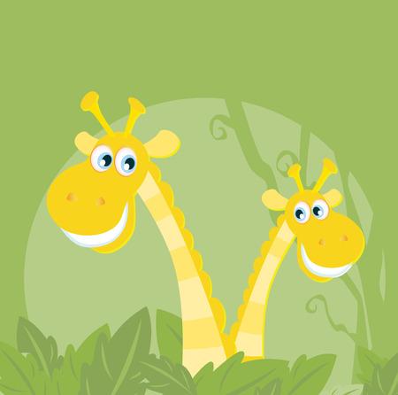 Funny animals - jungle giraffe family. Vector illustraton of happy giraffes in the jungle. Vector characters.