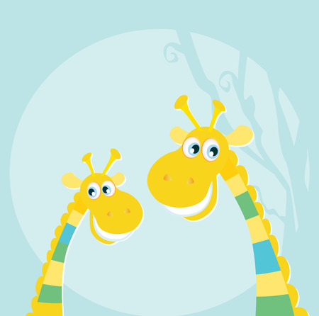 Funny jungle yellow giraffes. Vector illustraton of happy giraffes in the jungle. Vector characters.