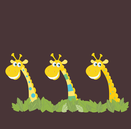 Three african safari giraffes. Yellow safari giraffes behind jungle leafs. Vector cartoon illustration of funny animals in retro style. Vector