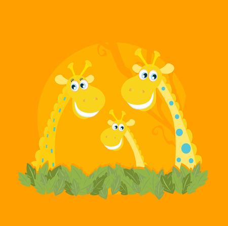 Cute giraffe family portrait. Vector Illustration of giraffe family. Funny animal characters in retro style.
