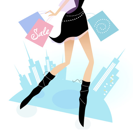 Long legs woman shopping in the city. Vector illustration of sexy long - legs woman with shopping bags. Vector