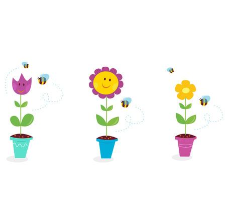 bee garden: Flores de jard�n - tulip�n, girasol y Margarita en la primavera. Ilustraci�n de flores de jard�n de primavera.