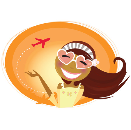people travelling: Travel woman with heart-shaped glasses and airplane in background. Tourist girl on vacation trip. Sexy tourist girl and airport in behind.  Illustration.