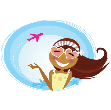 Girl on the airport traveling on vacation. Tourist girl on airport terminal. Landing airplane silhouette in background.  Illustration. Vector