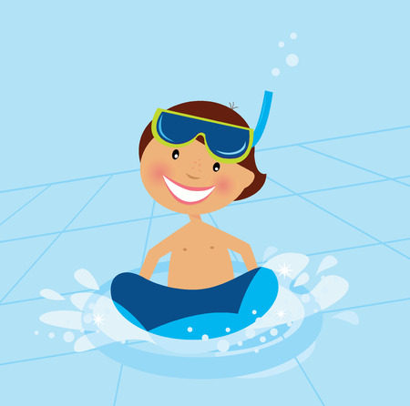 Small boy swimming in water pool.  Illustration of small happy boy swimming in cold pool. Pool behind boy is dynamic with perspective angle. Vector