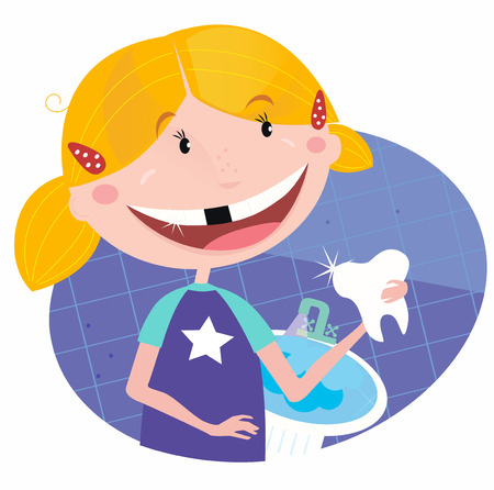 Girl with tooth in the bathroom. Illustration of small blonde girl with her tooth.
