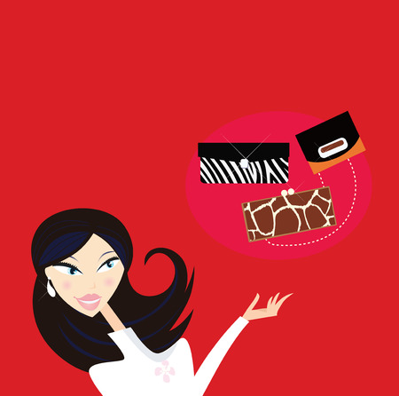 Fashion woman with shopping bags in town. Stock Vector - 6759443