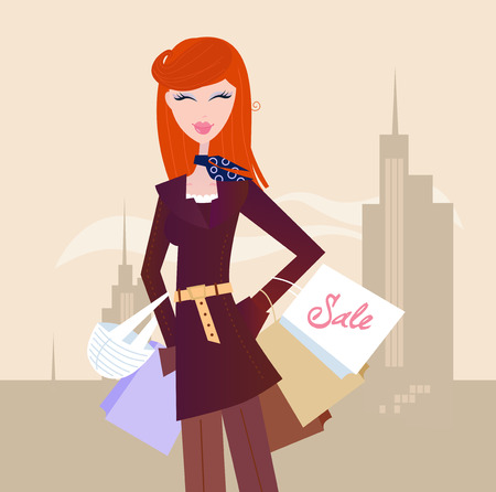 Fashion woman with shopping bags in town. Vector
