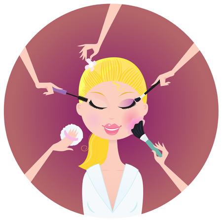Make - up woman - facial treatment services. Stock Vector - 6759445
