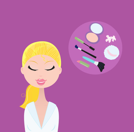 Woman with cosmetic accessories. Fashion accesories - makeup, lipstick, mascara, powder, powder sponge etc. Vector