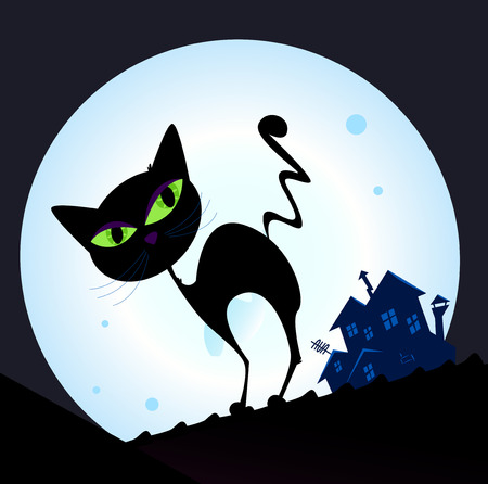 Black cat silhouette in night town. Silhouette of black cat with green eyes on the roof. Night town with full moon in background. Vector