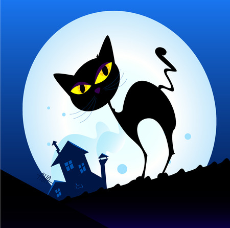 Black cat silhouette in night town. Silhouette of black cat with yellow eyes on the roof. Night town with full moon in background.  Vector