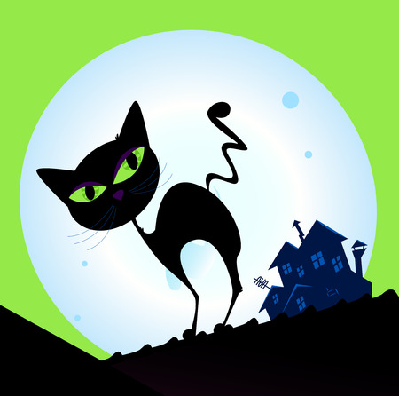 Spooky cat silhouette with full moon in background. Black cat silhouette, night house and moon.  Vector