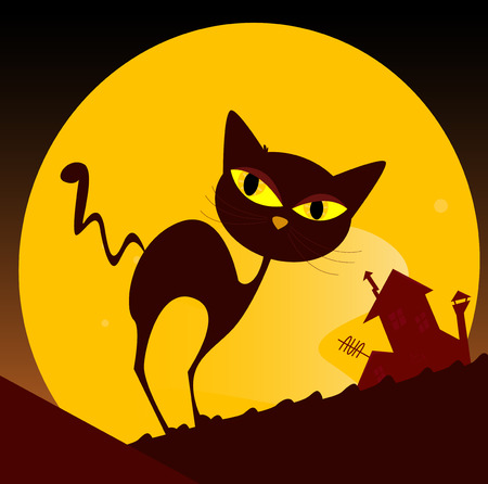 Black cat silhouette and city sunset. Spooky cat silhouette, old house mansion and yellow sunset in background. Vector