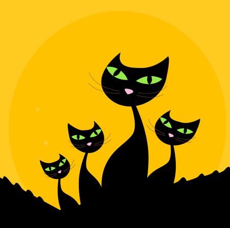 Cat family - black silhouette on orange background. Four stylized cute cats isolated on orange background.  Vector