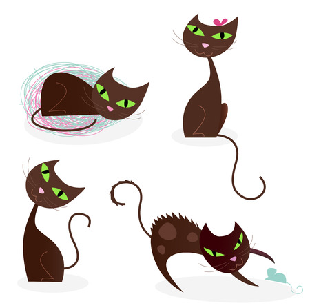 Brown cat series in various poses 2. Collection of cartoon cat characters in four poses. Sleeping cat, fashion cat, sitting cat and cat playing with mouse.  Vector