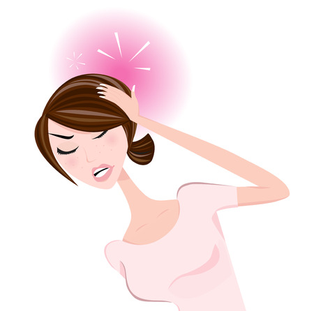 sensitivity: Woman with headache. Stress in work, divorce, unhappy love or health problems Young woman with pains.  Illustration