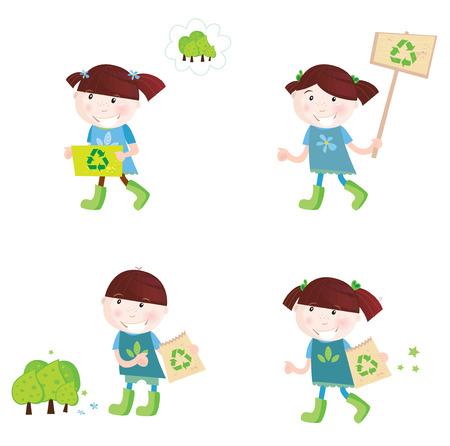 I bambini di scuola di sostegno riciclaggio. Quattro figli carino con simboli di riciclo.