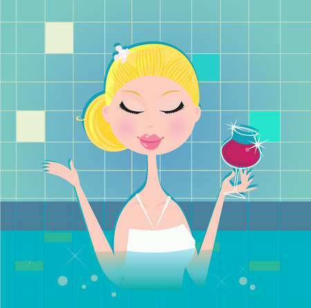 whirlpools: Lady with drink in whirpool. Hot lady with wine in whirpool. Illustration