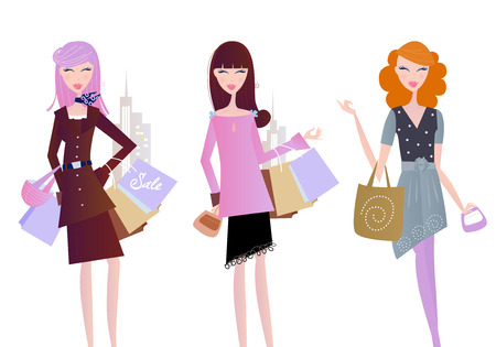 women posing: Women with shopping bags isolated on white. Sexy women on shopping in the city.  Illustration