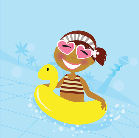 cartoon swimming: Child in water pool. Cute girl in water pool.  Illustration