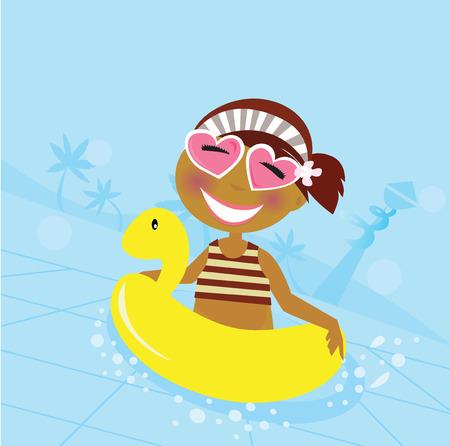 enfant maillot de bain: Enfant dans la piscine de l'eau. Cute girl dans la piscine de l'eau. Illustration