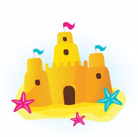 conchas: Icono - Castillo de arena de playa.  Vectores