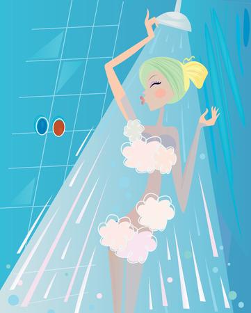 Spa und Beauty: Woman unter der Dusche-Bad.