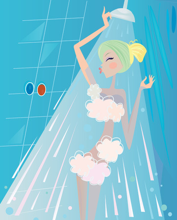 Spa and beauty: Woman below the shower bath. Vector