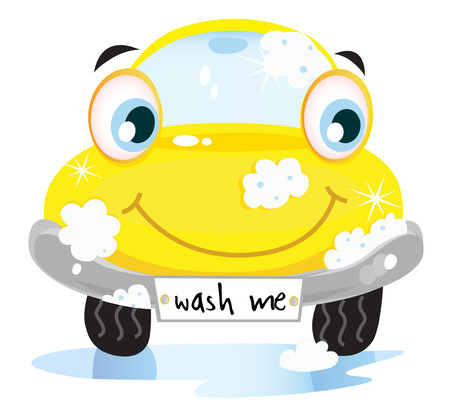 oude autos: Car wash service - happy gele auto met zeep bellen.  Stock Illustratie