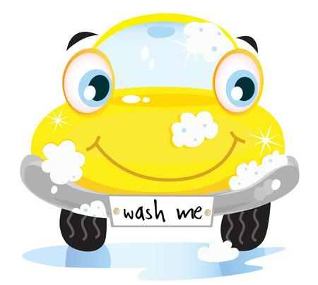 autolavaggio: Servizio di lavaggio auto - felice automobile gialla con bolle di sapone.