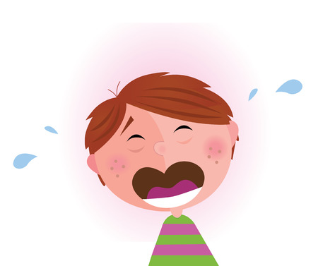feelings of happiness: Small crying boy. Illustration